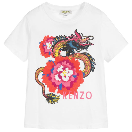 Kenzo Gilly Girls White Cotton T-Shirt - Kids clothes online | BOYS & GIRLS ONLINE