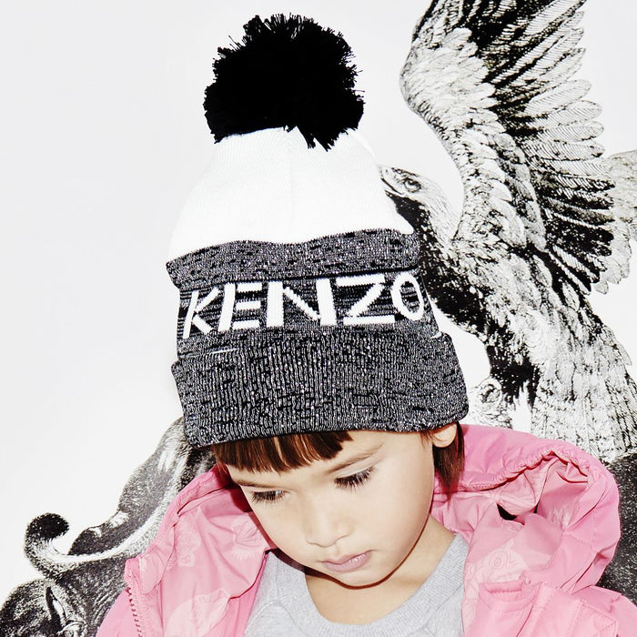 Kenzo-Girls Black Cotton Pom-Pom Hat-boysgirlsonline.com