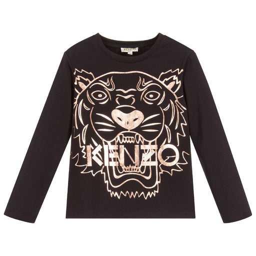 KENZO Girls Black Cotton Tiger JG 2 Top at BOYS & GIRLS ONLINE