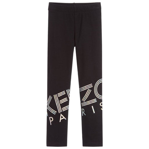 Girls Black Logo Leggings