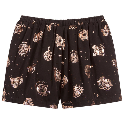 Kenzo Girls Black and Rose Gold Elisane Viscose Shorts - Kids clothes online | BOYS & GIRLS ONLINE
