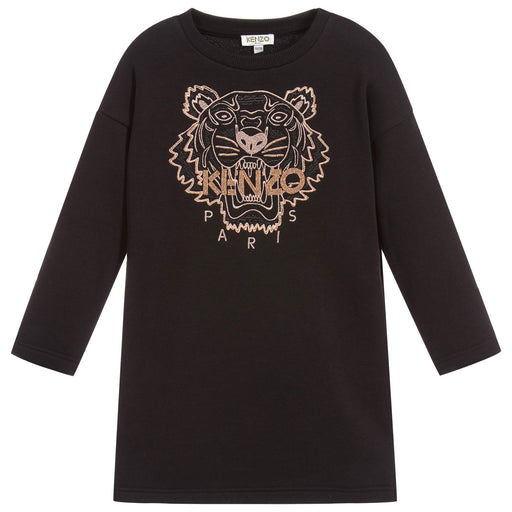 Kenzo - Girls Black Tiger Sweatshirt Dress - Kids clothing at BOYS & GIRLS ONLINE