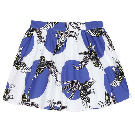 Kenzo-Girls Blue and White Phoenix Print Skirt-boysgirlsonline.com