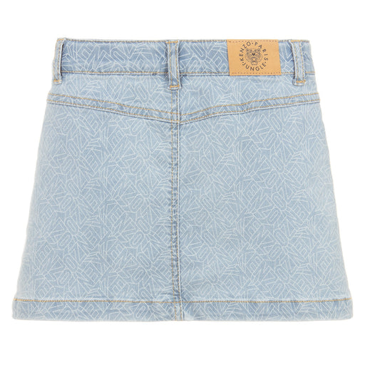 Girls Blue Denim Logo Skirt
