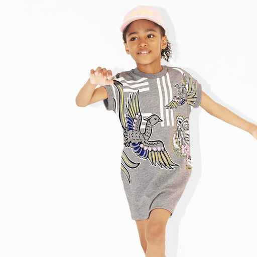 Kenzo-Girls Grey Cotton Tiger Phoenix Dress-boysgirlsonline.com