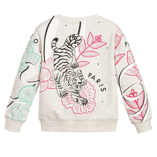 Kenzo-Girls Grey Elephant Tiger Cotton Sweatshirt-boysgirlsonline.com