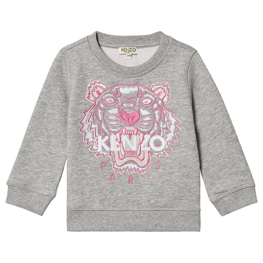 Kenzo-Girls Grey Tiger Cotton Sweatshirt-boysgirlsonline.com