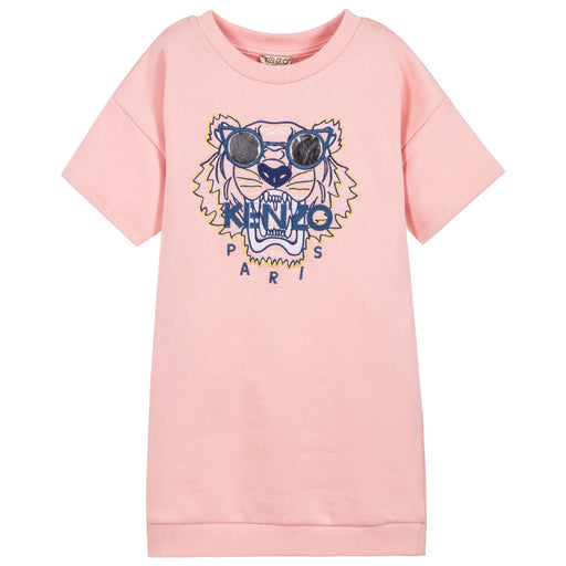 Kenzo - Girls Middle Pink TIGER Jersey Dress - Kids clothing at BOYS & GIRLS ONLINE