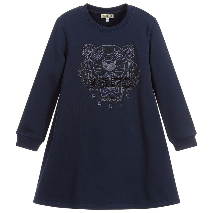Kenzo Girls Navy Blue Tiger Dress - Kids clothes online | BOYS & GIRLS ONLINE