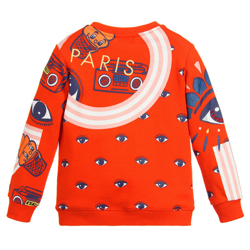 Girls Orange Cotton Sweatshirt