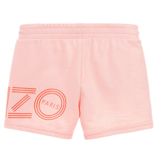 Girls Peachy Pink Cotton Logo Shorts