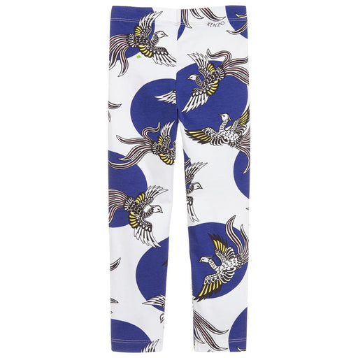 Kenzo-Girls White and Blue Phoenix Leggings-boysgirlsonline.com