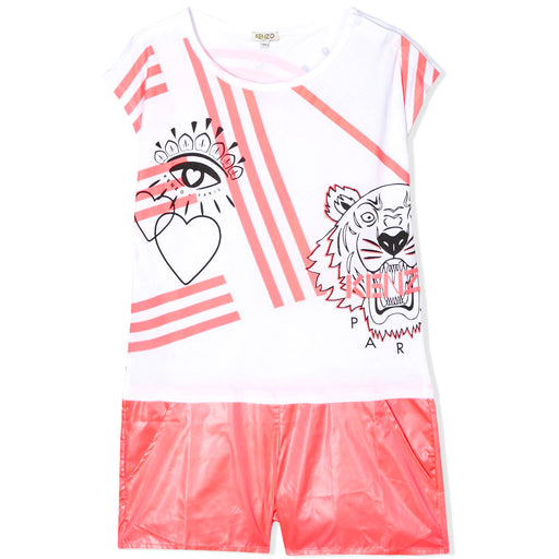 Kenzo-Girls White and Pink Logo Print Tiger Playsuit-boysgirlsonline.com