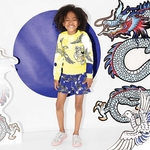 Kenzo-Girls Yellow Phoenix Tiger Sweatshirt-boysgirlsonline.com