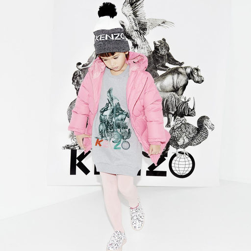 Kenzo - Gracia Girls Grey Cotton Jersey Dress - Kids clothing at BOYS & GIRLS ONLINE