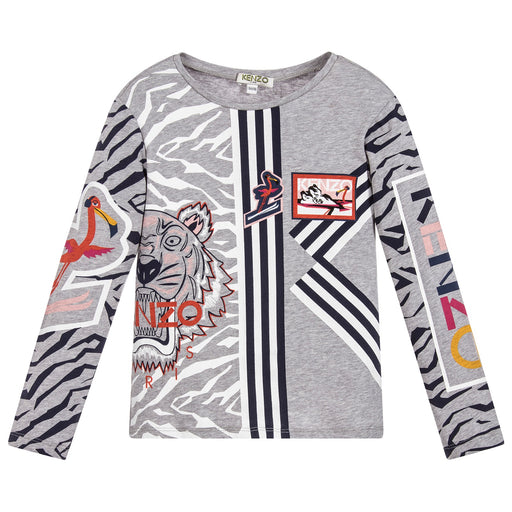 KENZO Grey Cotton Printed Flamingo Esma Top at BOYS & GIRLS ONLINE