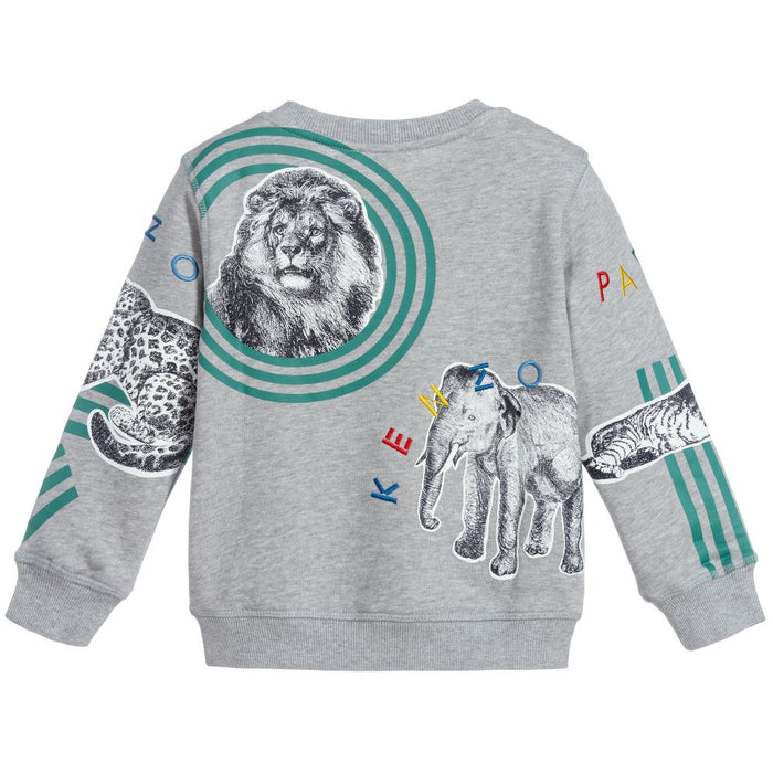 Kenzo Grey Cotton Tiger Sweatshirt - Kids clothes online | BOYS & GIRLS ONLINE