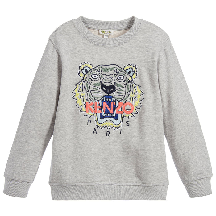 KENZO Kids Grey Tiger JB 3 Bis Cotton Sweatshirt KL15528 at BOYS & GIRLS ONLINE