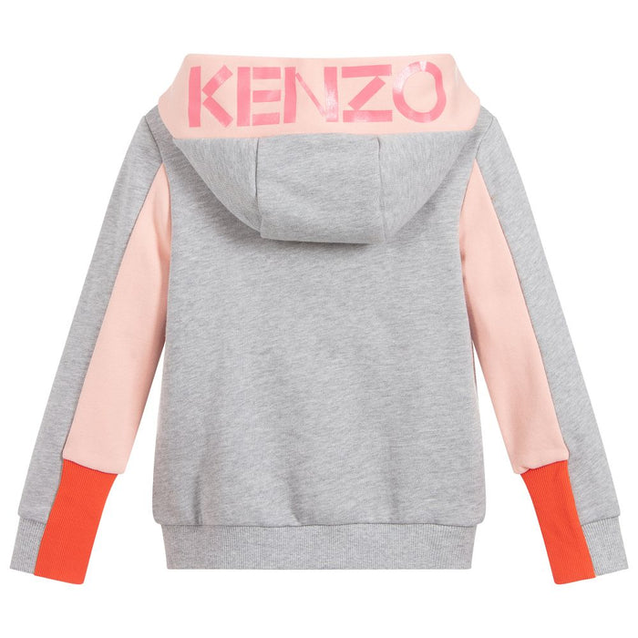 Kenzo Gwendoline Girls Grey Cotton Zip-Up Top - Kids clothes online | BOYS & GIRLS ONLINE