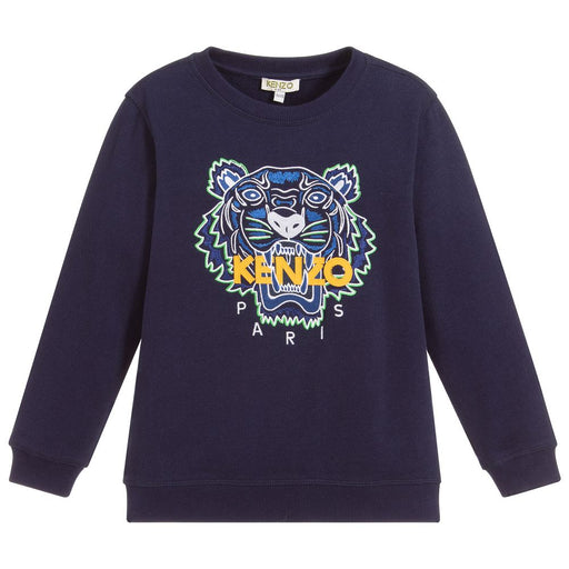 Kenzo - Navy Blue Tiger Sweatshirt - Kids clothing at BOYS & GIRLS ONLINE