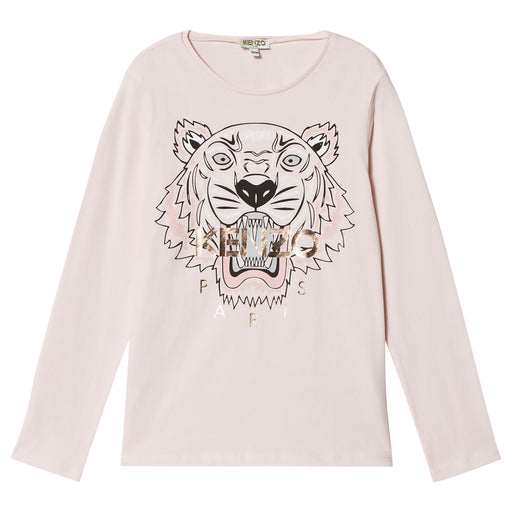 KENZO Pale Pink Tiger Print JG14 T-Shirt at BOYS & GIRLS ONLINE