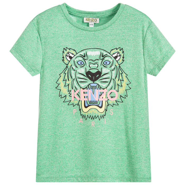 KENZO Kids Tiger JG 1 Bis Green T-Shirt for Boys and Girls KL10058