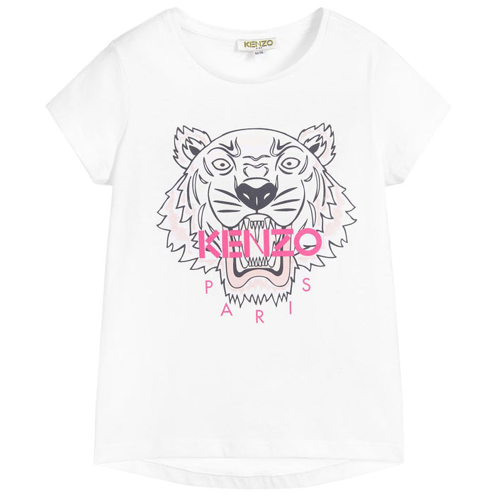 Kenzo White Cotton Tiger T-Shirt - Kids clothes online | BOYS & GIRLS ONLINE