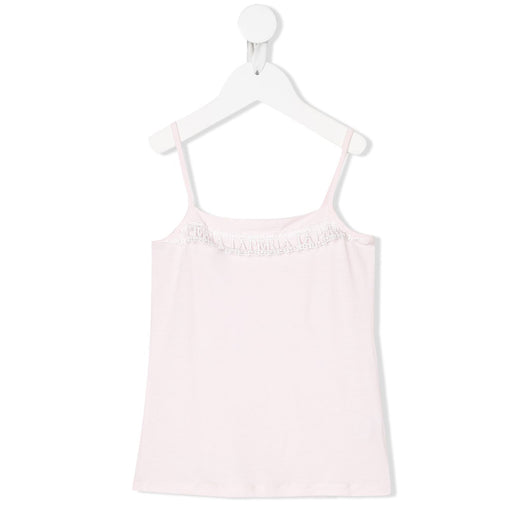 La Perla Kids Girls Pink Logo Lace Trim Top-BOYS & GIRLS ONLINE
