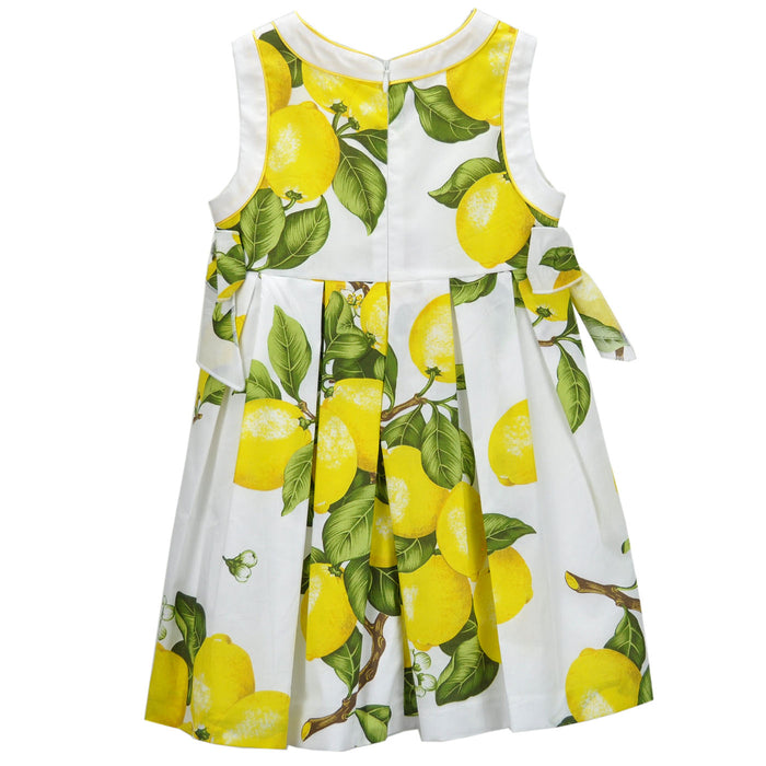 Laura Biagiotti Girls White Summer Dress with Lemon Print-BOYS & GIRLS ONLINE