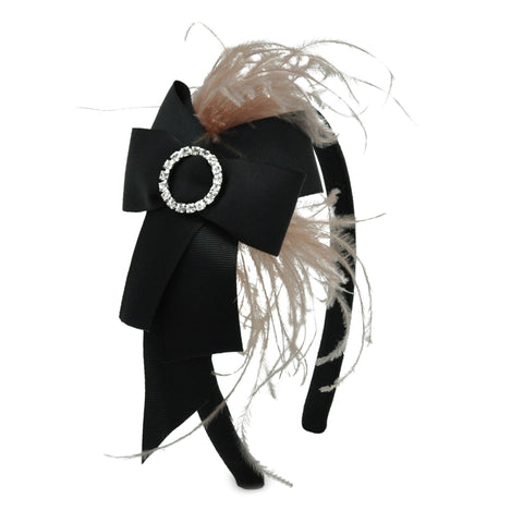 Lesy Feather and Bow with Crystal Ring Black Hairband 01A8615