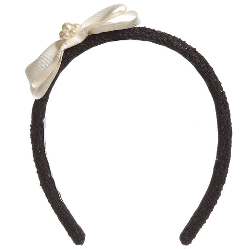 Girls Black Tweed Hairband with Bow and Pearls by Lesy at BOYS & GIRLS ONLINE