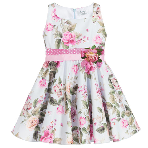 Girls Blue & Pink Floral Dress with Brooch by Lesy at BOYS & GIRLS ONLINE