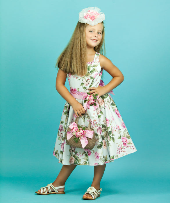 4a5f96d8b9 Lesy Girls Blue   Pink Floral Dress with Brooch at BOYS   GIRLS ONLINE