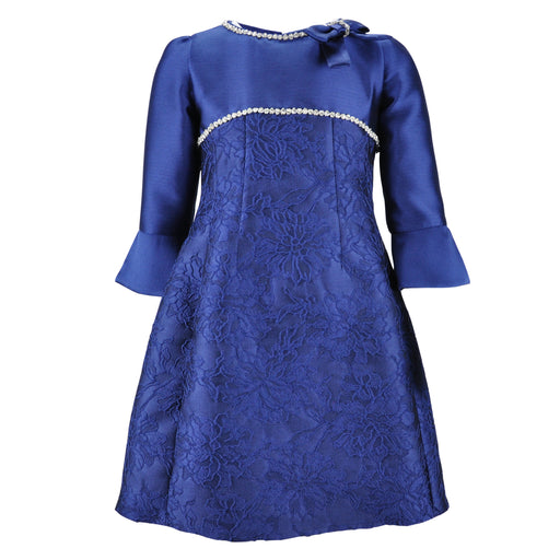 Lesy - Girls Blue Straight Dress with Crystals - Kids clothing at BOYS & GIRLS ONLINE