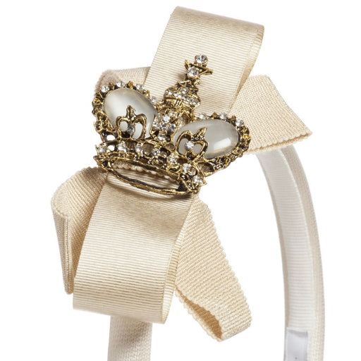 Lesy Girls Ivory Hairband with Gold Crown and Bows 01A8629