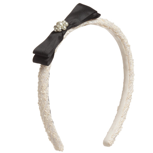 Girls Ivory Tweed Hairband with Bow and Pearls by Lesy at BOYS & GIRLS ONLINE
