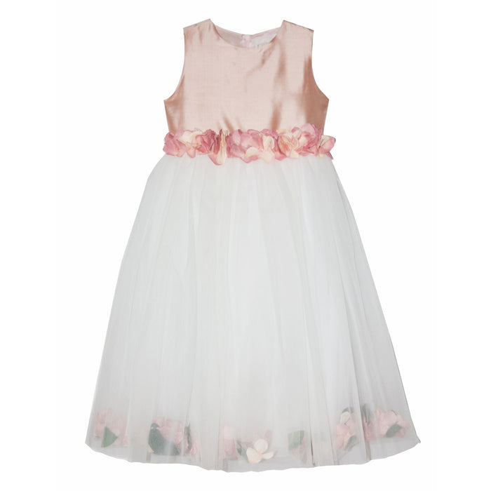 Girls Longette Dress with Peach Flowers by Lesy at BOYS & GIRLS ONLINE