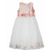 Lesy-Girls Longette Dress with Peach Flowers-boysgirlsonline.com