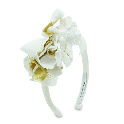 Lesy Girls White and Gold Floral Hairband 01A8627
