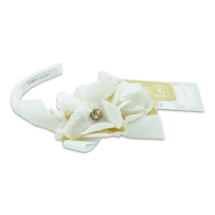 Lesy-Girls White and Gold Floral Hairband-boysgirlsonline.com
