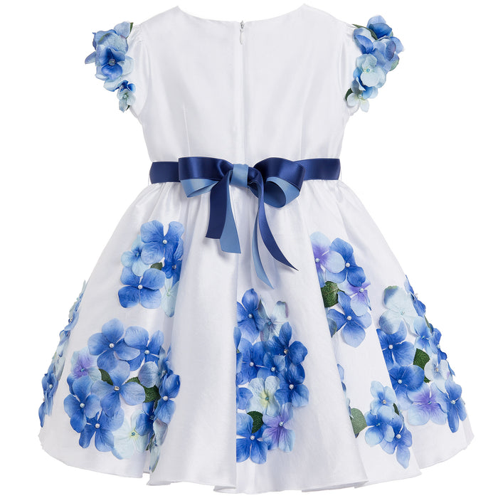 Luxury Satin Dress with Blue Flowers by Lesy at BOYS & GIRLS ONLINE