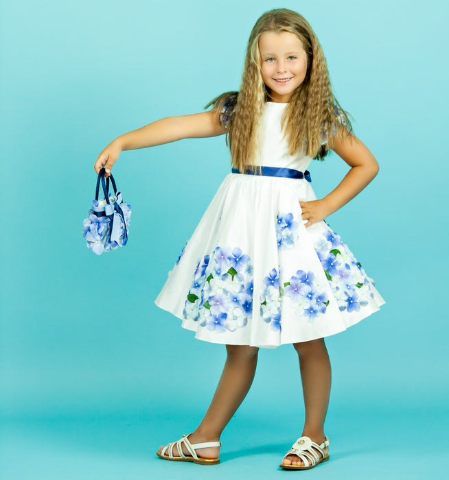 Lesy Luxury Satin Dress with Blue Flowers at BOYS & GIRLS ONLINE