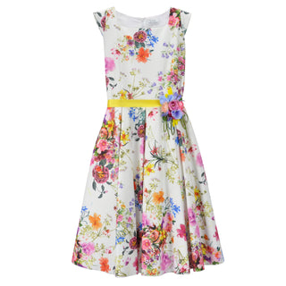 Lesy Girls White Multi Floral Dress with Brooch 027101 at BOYS & GIRLS ONLINE