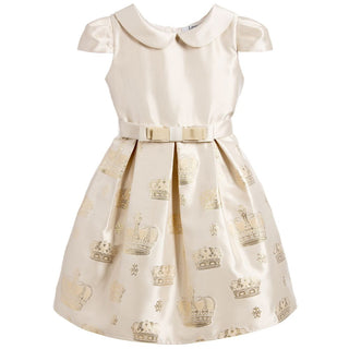 Gold Girl Dress with Round Collar and Mid-Length Sleeves by Lesy at BOYS & GIRLS ONLINE