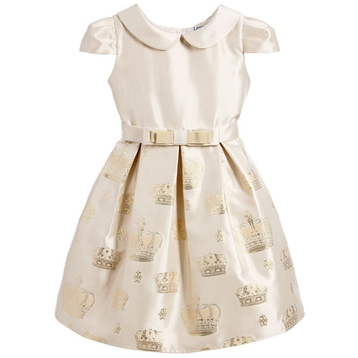 Lesy - Gold Girl Dress with Round Collar and Mid-Length Sleeves - Kids clothing at BOYS & GIRLS ONLINE