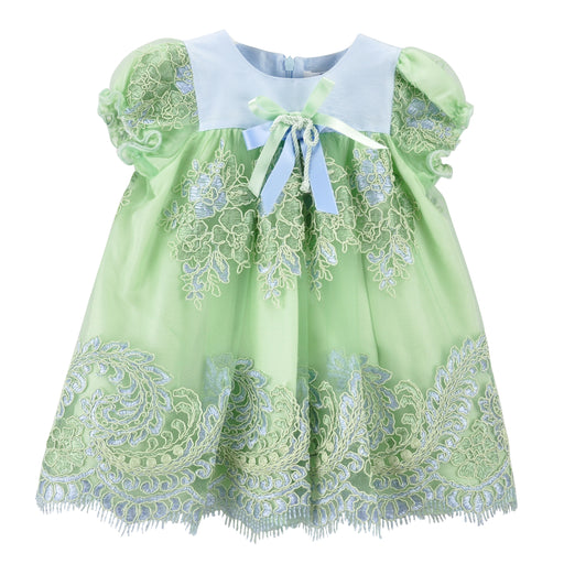 Lesy Green Embroidered Baby Girl Dress 027138