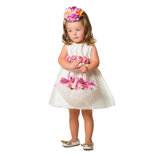Lesy Ivory Silky Luxury Girls Dress at BOYS & GIRLS ONLINE