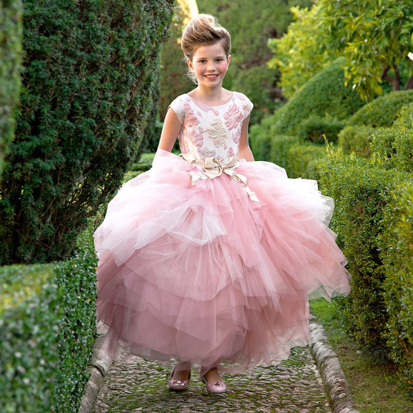 Luxury Long Jacquard Dress with Voluminous Tulle Skirt. Luxury girl dress with a many layers of tulle skirt.