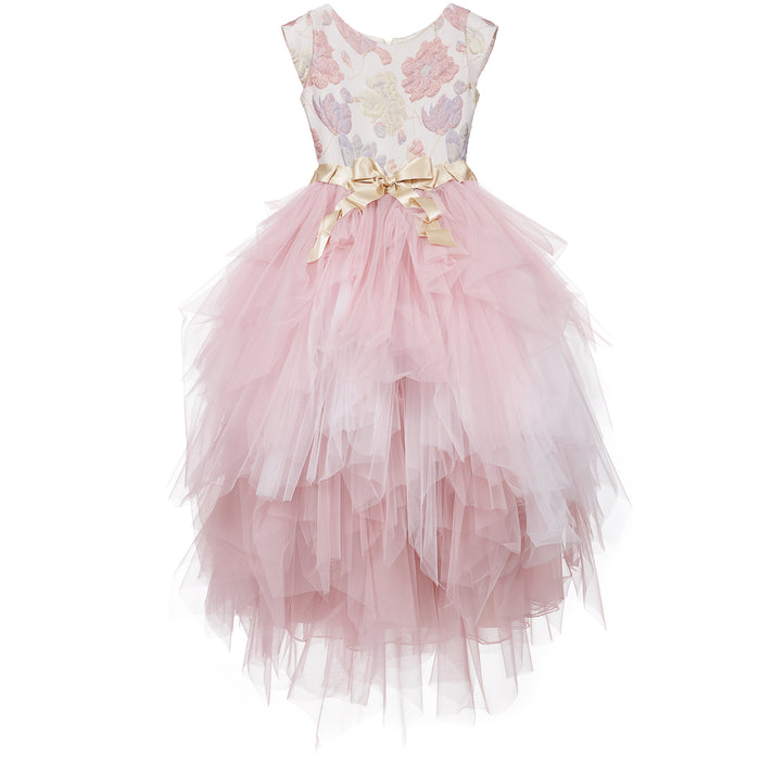 Lesy Luxury Long Jacquard Dress with Voluminous Tulle Skirt - Kids clothes online | BOYS & GIRLS ONLINE