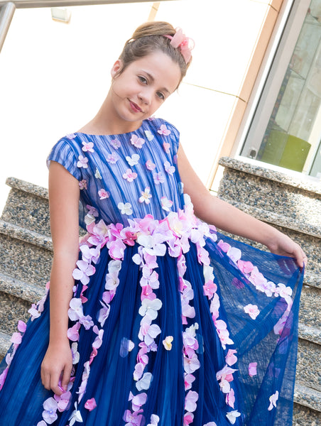 Navy blue pleated tulle full dress for girls from Lesy with pink flowers floral dress handmade